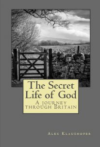 Gate and drystone wall in sepia which is the cover of the book The Secret Life of God by Alex Klaushofer