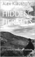 Profile of man sitting looking at a craggy landscape which is the cover of Hidden Hermits by Alex Klaushofer