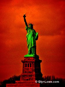 Statue of Liberty against a blood-red sky