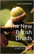 Acorns on a branch against a background of green leaves and the cover of The New British Druids by Alex Klaushofer