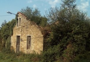 Stone tumble-down house on the route of the Camino de Santiago pilgrimage route in Galicia