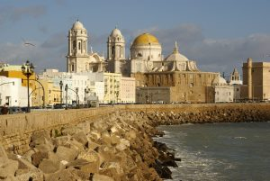 The old city of Cadiz seen from along the promontory